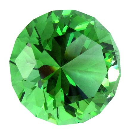 Gem Cut Paperweight (Big 40mm Emerald Green 40 mm Cut Glass Crystal Giant Diamond Jewel)