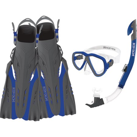 Body Glove Azores Open Water Series Mask, Snorkel & Fins Aquatic Set (Body Glove Diving)