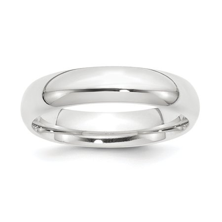 - Platinum Solid Polished Engravable 5mm Half-Round Comfort Fit Lightweight Band Ring - Ring Size: 4 to 12