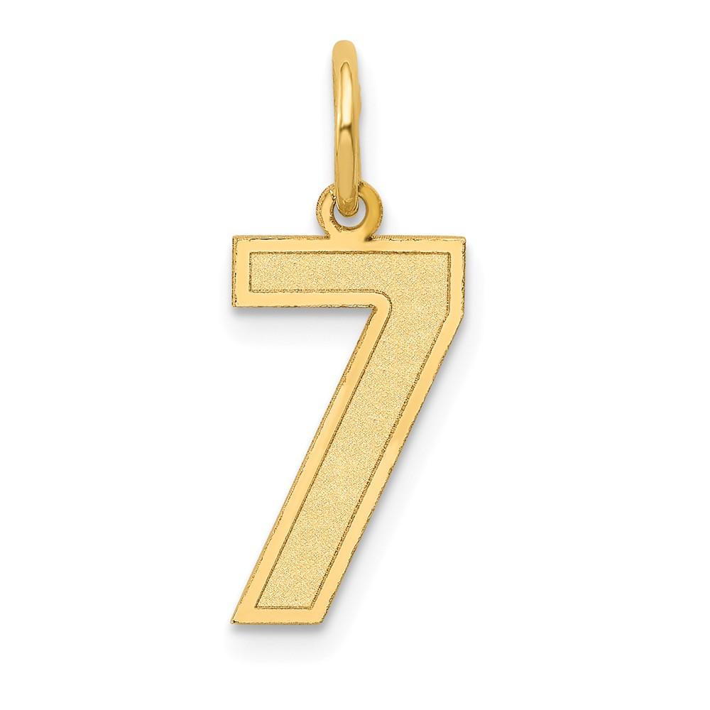 14k Yellow Gold Medium Satin Number 7 Charm Pendant