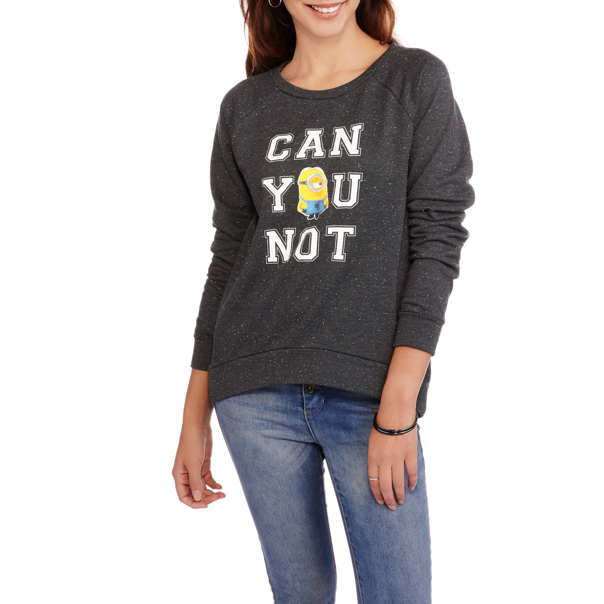 "Minions Juniors' ""Can You Not"" Super Soft Speckled Fleece Pullover"
