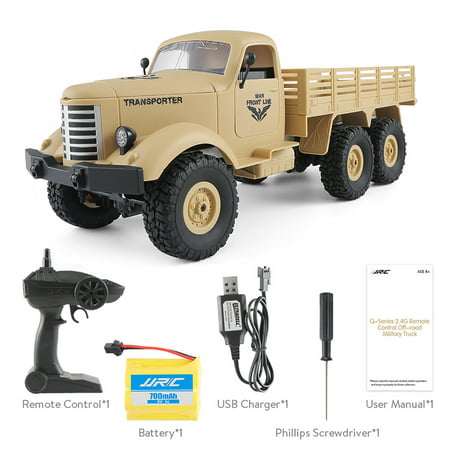JJRC Q60 1:16 2.4G 2CH 6WD Remote Control Tracked Off-Road Military Truck RC Car RTR  Brush motor Birthday Gifts - image 8 de 12