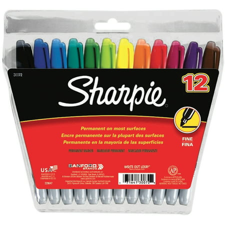 Sharpie Permanent Markers, Fine Point, Assorted Colors, 12 Count in Pouch
