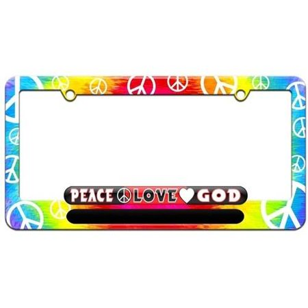 Peace Love God Religious License Plate Tag Frame Tie Dye Peace Signs Design