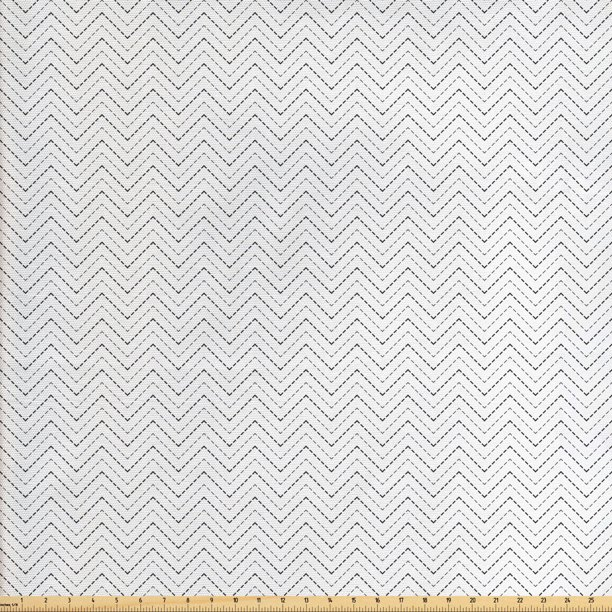 Herringbone Fabric by The Yard, Abstract Pattern Inspired Repeated Dotted Zigzag Lines Art Print, Decorative Fabric for Upholstery and Home Accents, by Ambesonne