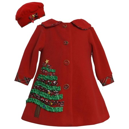 19140e286d8ef Bonnie Jean - Baby Girls 3M-24M Red Holiday Christmas Tree Fleece Coat/Hat  Set, 18M [BNJ00677] - Walmart.com