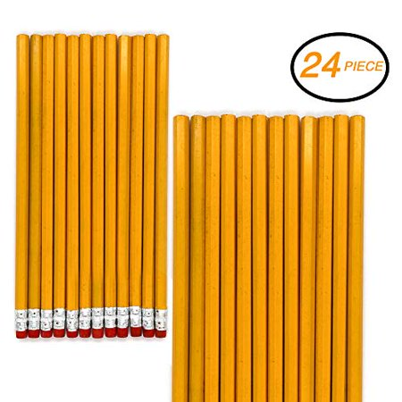 Emraw No 2 HB Wood Cased Pencils with Eraser Top, Bulk Pack of 24 Unsharpened Pencil - for Kids, Students, Teachers, Office and Home Use](Personalized Pencils Bulk)
