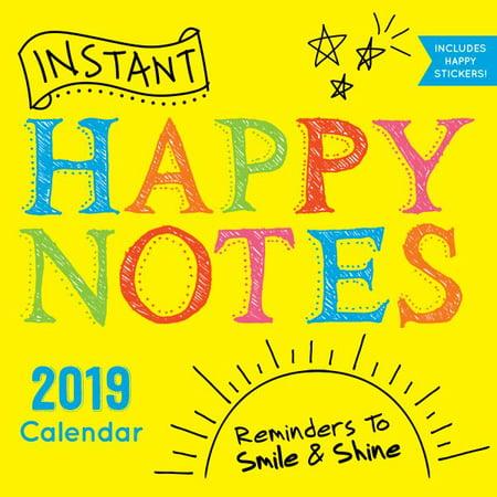 2019 Instant Happy Notes Wall Calendar