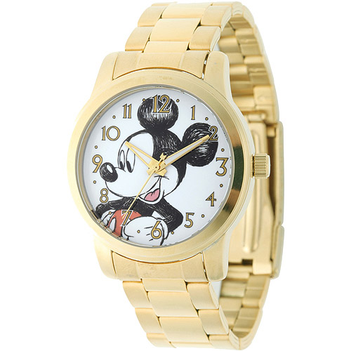 Disney Mickey Mouse Men's Casual Alloy Case Watch, Gold Bracelet