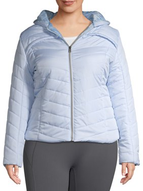 Big Chill Women's Plus Size Midweight Quilt Faux Packable Puffer Jacket