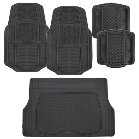 BDK RuggedDuty Car Floor Mats for Auto SUV Van with Cargo Trunk Liner - All Weather Duty 5 Pieces Set