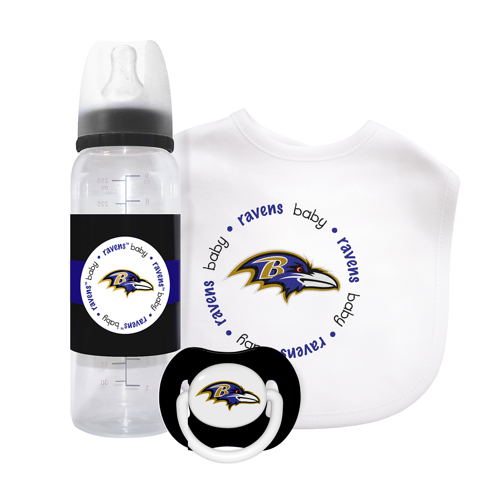2 New Baltimore Ravens Theme Baby Infant Bottles Set w// Lids 100/% BPA FREE