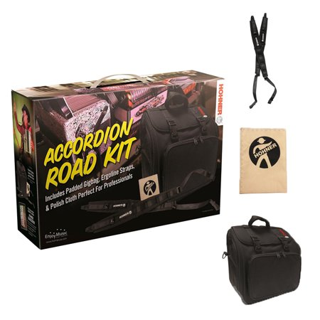 Hohner Accordion Road Kit With Gig Bag, Upgraded Straps, Cleaning Cloth