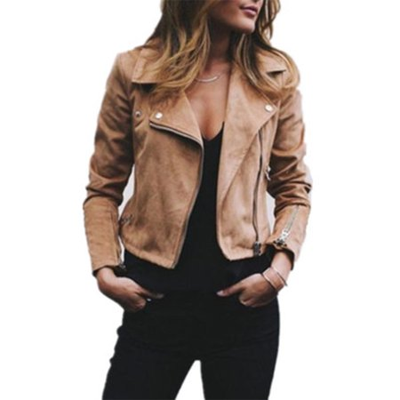 Plus Size S-5XL New Fashion Women's Turndown Collar Leather Jackets Retro Rivet Zipper Up Casual Jackets Outwear Coats](Leather Jacket Kids)