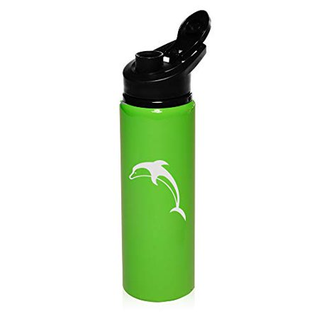 MIP Brand 25 oz Aluminum Sports Water Travel Bottle Dolphin (Bright-Green)