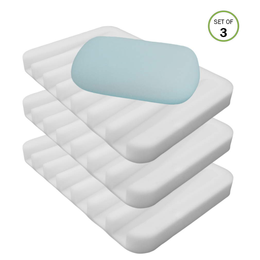 Evelots 3 Silicone Soap Dish Holders Waterfall Soap Saver Trays,Bath ...