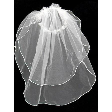 Genie Headpiece Veil (Girls 1st Communion Wedding White Veil 2 Layers Tulle Headpiece)