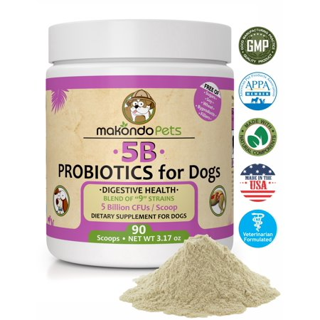Probiotics for Dogs & Puppies. Flavored, Made in USA, Extra Strength 9 Species Digestive Support Tummy Relief Enzyme Powder, 5 Billion CFUs per Scoop. 90 Scoops per Tub, 3.17