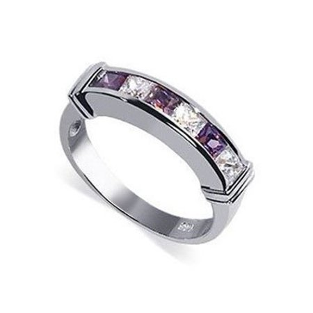 Avenue Mary Janes - Gem Avenue 925 Sterling Silver Emerald Shape Amethyst Color Clear Cubic Zirconia Ring