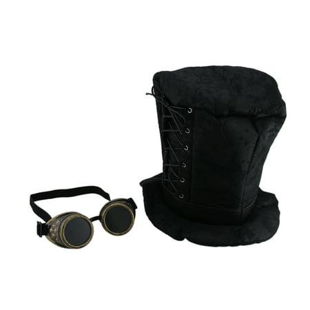 Gothic Corset Trim Tall Soft Steampunk Hat & Googles (Steampunk Google)