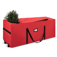 """Holiday Star Rolling Christmas Tree Storage Bag With 2 Rubber Wheels Fits tree Up To 7 Ft Tall - 17"""" x 16"""" x 48""""  - Red"""