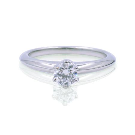 Tiffany Co Platinum Solitaire Diamond Round Diamond Engagement Ring