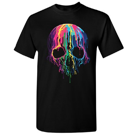 Melting Skull Neon Men's T-shirt Black Small