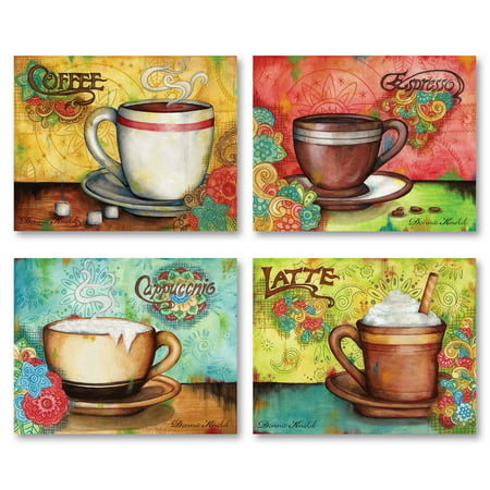 Gango Home Decor Popular Colorful Espresso, Coffee, Cappucino and Latte Kitchen Wall Art by Donna Knold; Four Multi-Color 10x8in Unframed Paper Prints (Paper Only, No Frame)](Halloween Coffee Art)