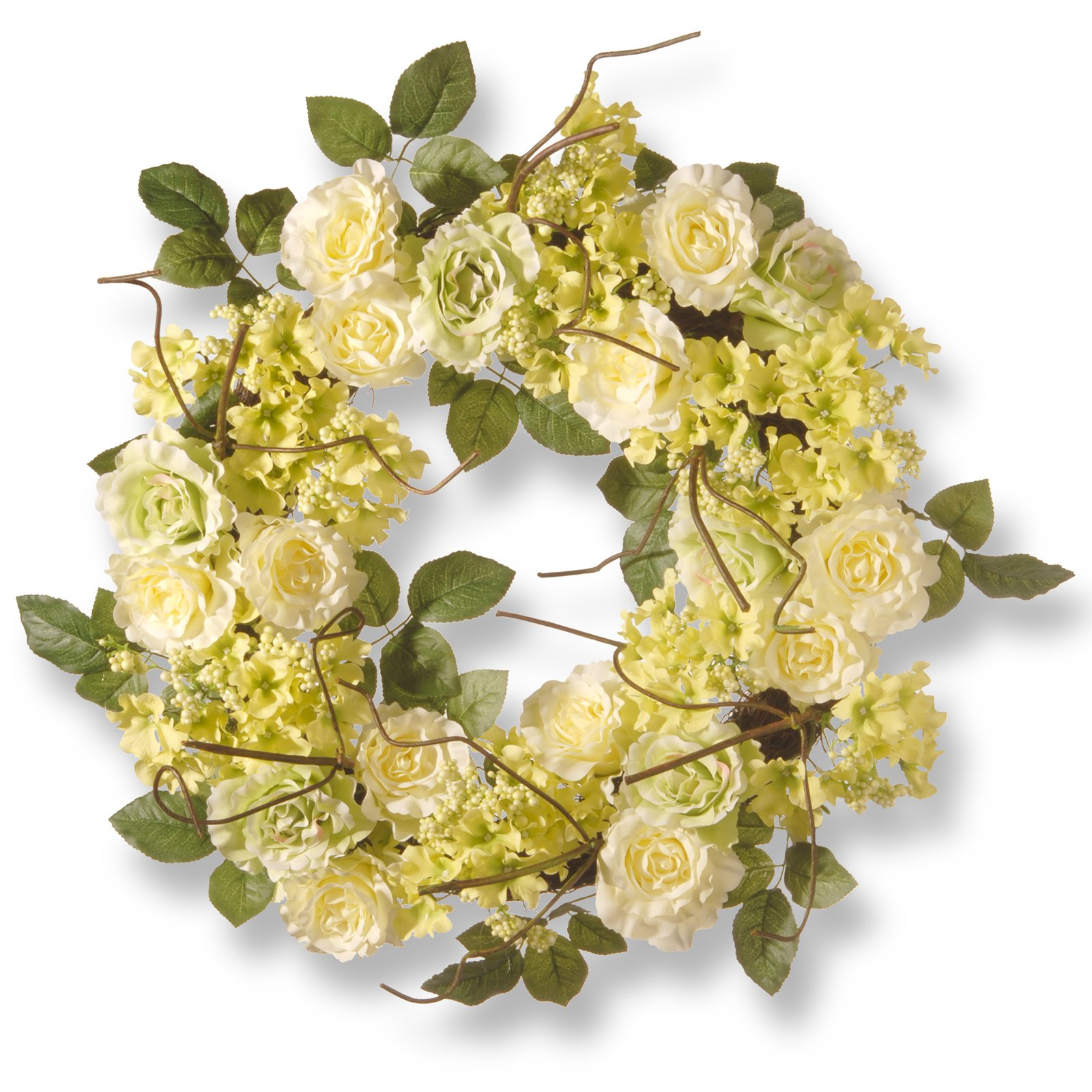 "National Tree Artificial 24"" Cream Rose Wreath"
