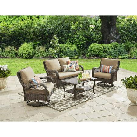 Better Homes And Gardens Colebrook 4 Piece Outdoor Conversation Set Seats 5 Tan