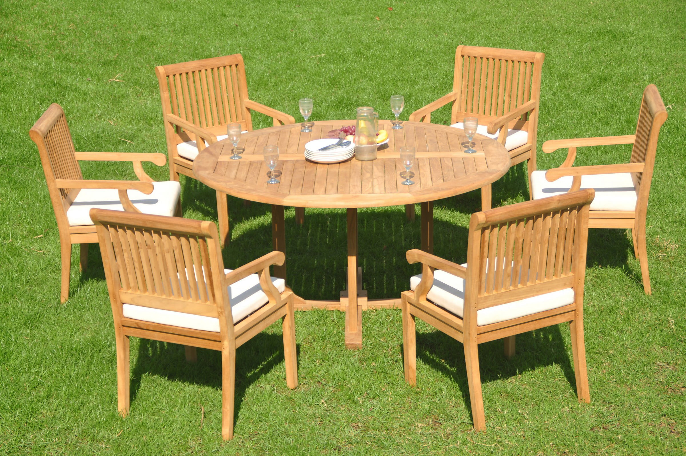 Teak Dining Set 6 Seater 7 Pc 60 Quot Round Table And 6 Sack