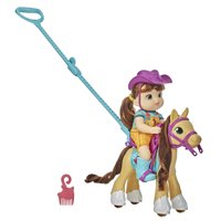 Littles by Baby Alive, Lil Pony Ride, Little Mandy Doll and Pony with Push-Stick, Accessories, Brown Hair