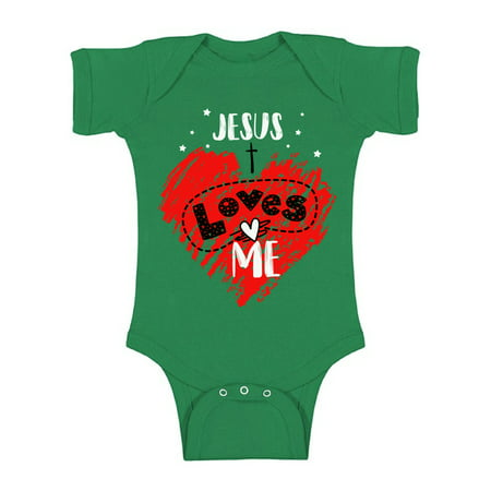 Awkward Styles Jesus Loves Me Bodysuit Short Sleeve for Newborn Baby Cute Birthday Gifts for 1 Year Old Jesus One Piece Top for Baby Boy Baby Girl Religious Outfit Baptisim Gifts God Lover