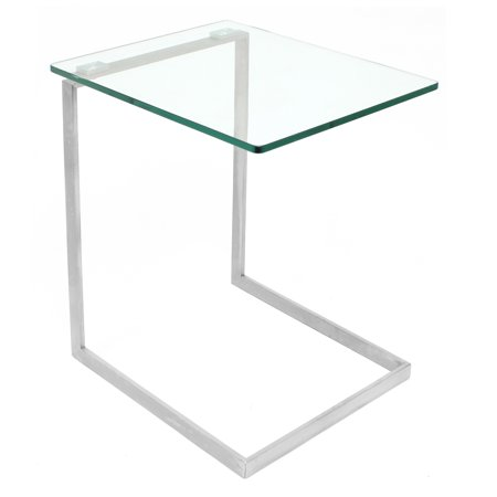Zenn Contemporary End Table with Clear Glass by LumiSource Contemporary Glass Side Table