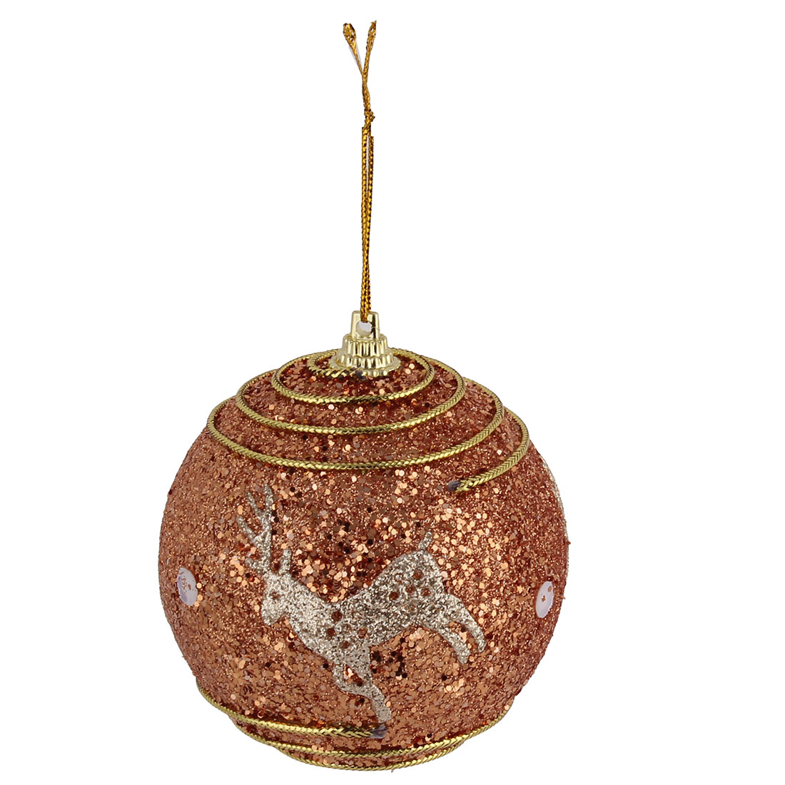 Unique Bargains Home Christmas Deer Pattern Spiral Decor Artificial Collectible Hanging Ball