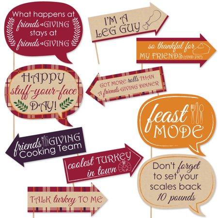 Thanksgiving Photo Props (Funny Friends Thanksgiving Feast - Friendsgiving Photo Booth Props Kit - 10)