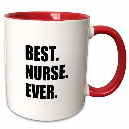 3dRose Best Nurse Ever - worlds greatest nursing staff worker fun nurses day - Two Tone Red Mug,