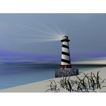 A lighthouse sends out a light to warn vessels Canvas Art - Corey FordStocktrek Images (33 x 25)