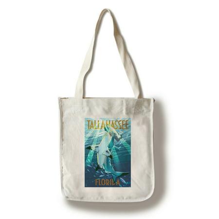 Tallahassee, Florida - Stylized Tiger Shark - Lantern Press Artwork (100% Cotton Tote Bag - Reusable)
