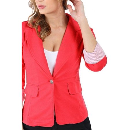 Buttoned Blazer - Salt Tree Women's Single Button Folded Contrast Quarter Sleeve Blazer Jacket