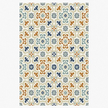 Mohawk bright floral tiles printed rug for Bright floral area rugs