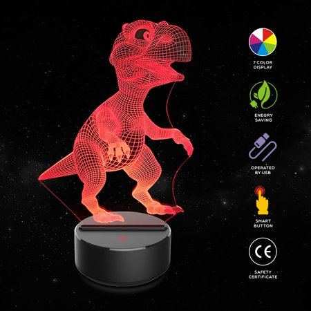 BEAD BEE Dinosaur 3D Night Light Table Desk Lamp 7 Colors 3D Optical Illusion Lights