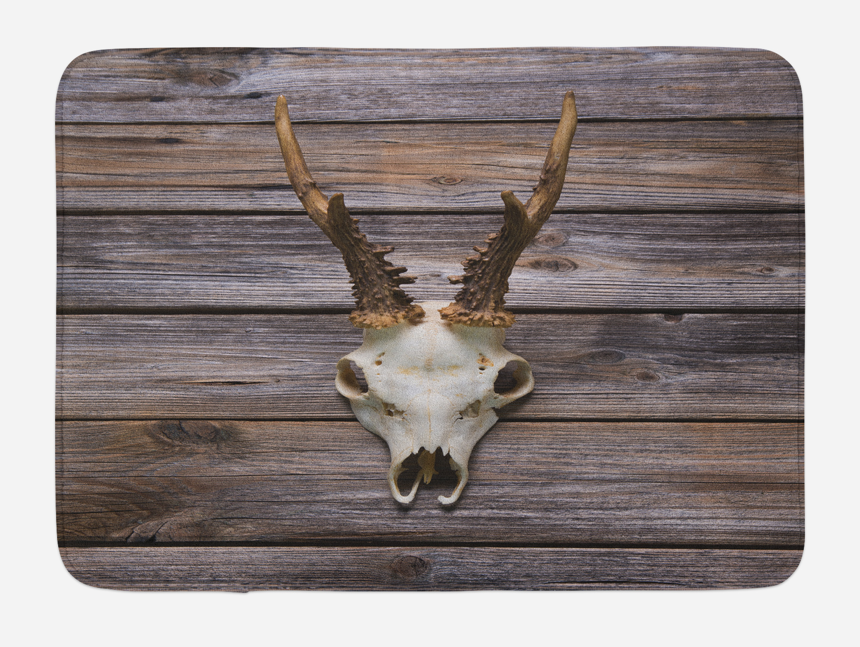 Antlers Bath Mat, Rustic Antler on Wooden Wall Wintertime ...