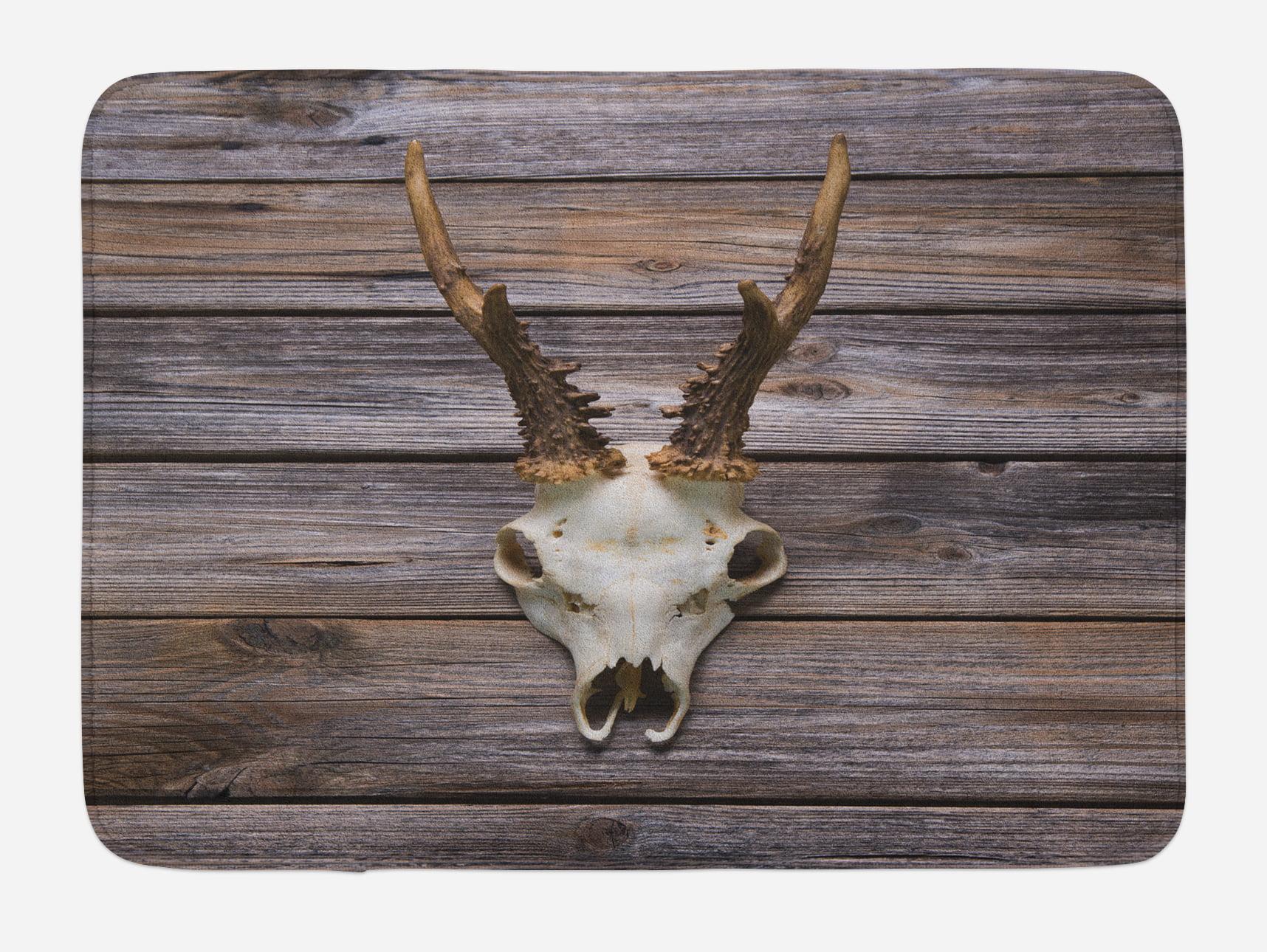 Antlers Bath Mat, Rustic Antler on Wooden Wall Wintertime ...