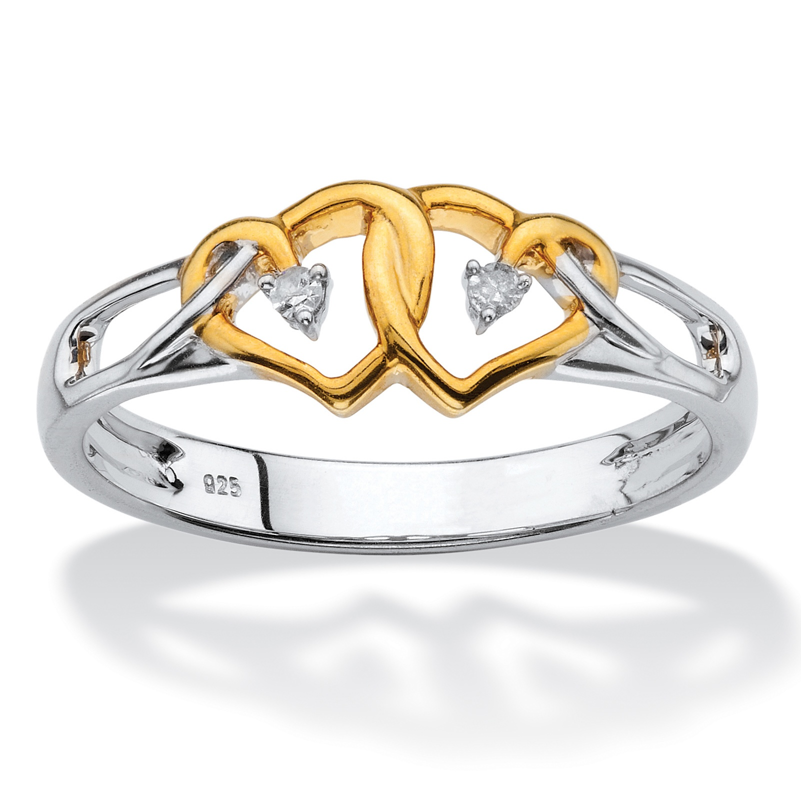 Diamond Accent Two-Tone Double Heart Ring in 14k Yellow Gold over Sterling Silver