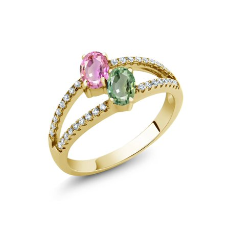 1.51 Ct Oval Pink Sapphire Green Sapphire 18K Yellow Gold Plated Silver Ring