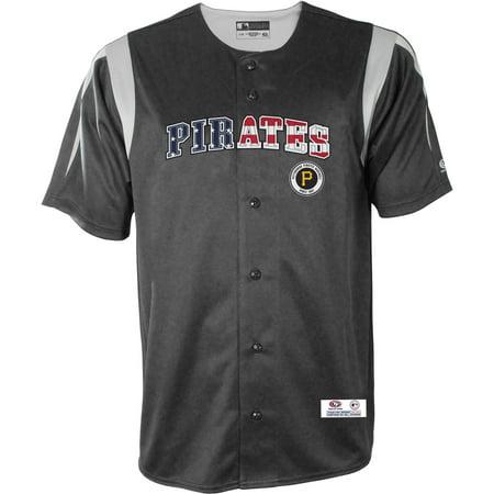Pirate Skull Baseball Jersey - MLB Pittsburgh Pirates Big Men's Americana Button Down Jersey, 2XL