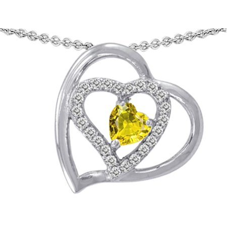 Star K Heart Shape Simulated Citrine Pendant Necklace in Sterling Silver
