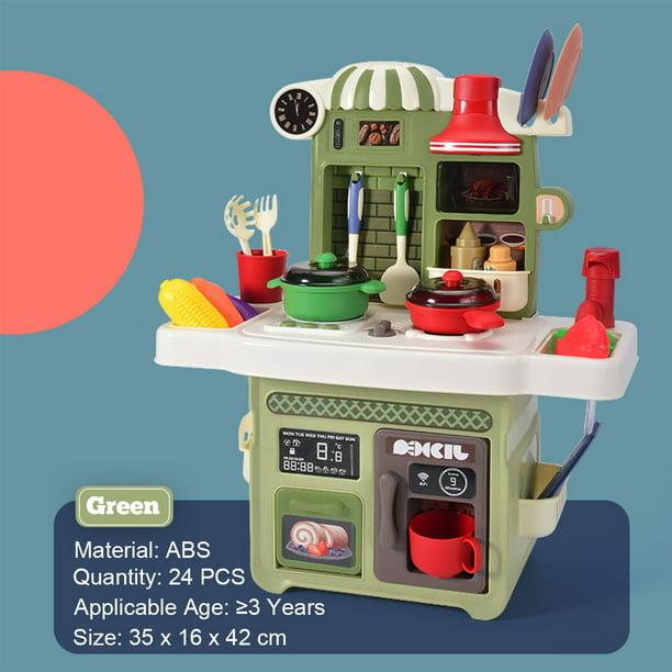 Kids Kitchen Playset Pretend Play Kitchen With Lights Sounds Play Sink Toy Cooking Food Kitchenware Set Walmart Com Walmart Com