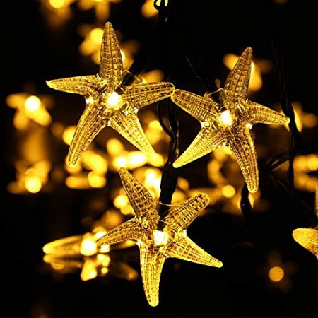 LUCKLED Outdoor/Indoor Solar String Lights 20ft 30 LED Starfish Solar Fairy String Lights for Festibal Decoration,Party Decorative Lighting (Warm White)